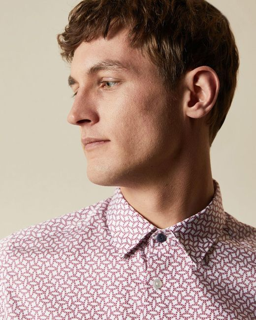 Ted Baker Red Geo Print Cotton Shirt for men