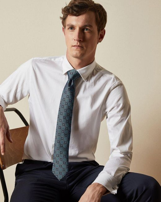 Ted Baker Blue Silk Printed Tie for men