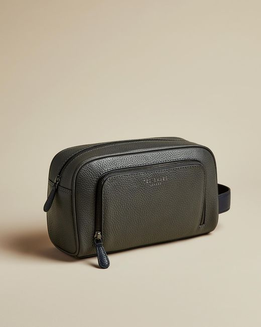 Ted Baker Gray Leather Washbag for men