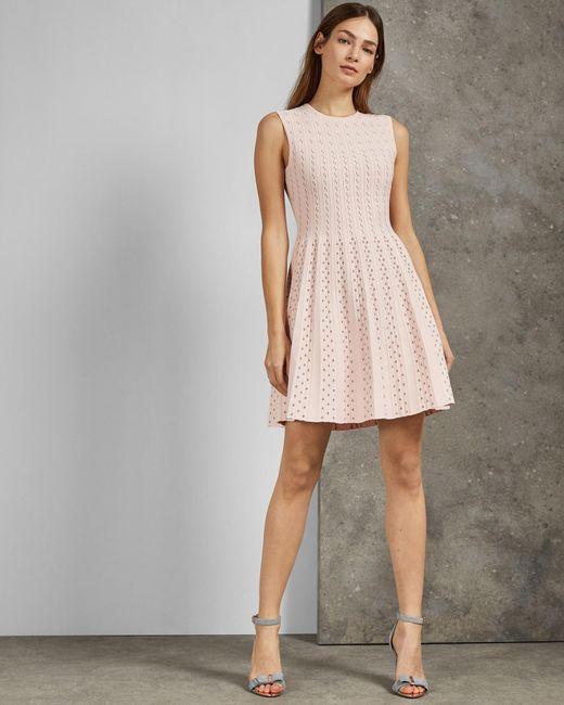 ba0d88addd Ted Baker - Pink Vellia Knit Skater Dress - Lyst ...