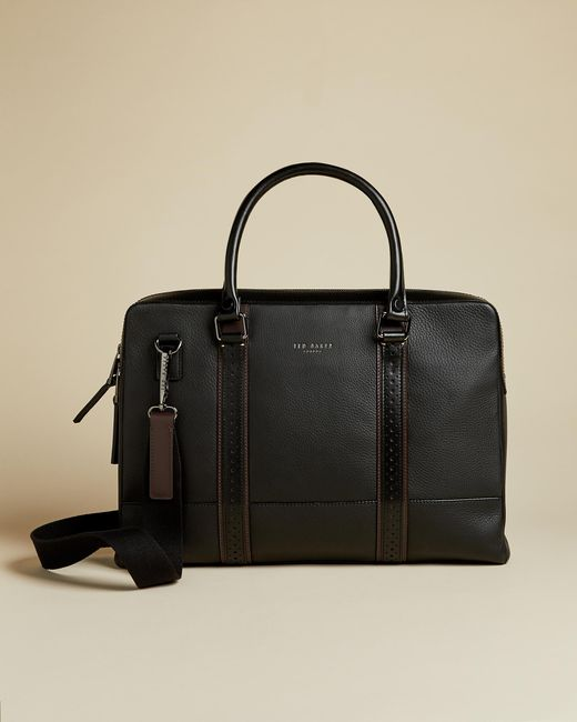 Ted Baker Black Leather Document Bag for men