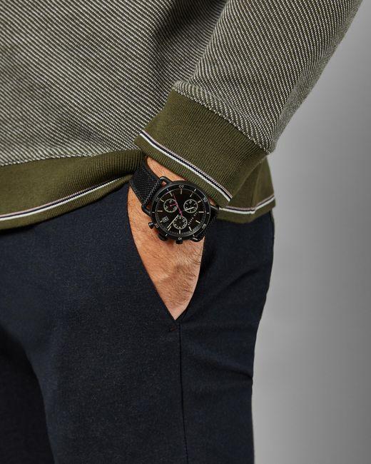 Montre Avec Bracelet En Tissu Et Silicone Ted Baker pour homme en coloris Black