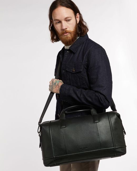 Ted Baker Black Leather Holdall for men