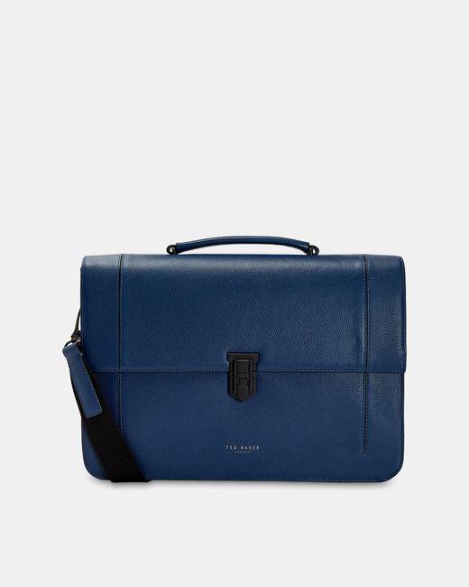 Ted Baker Blue Leather Messenger Bag for men