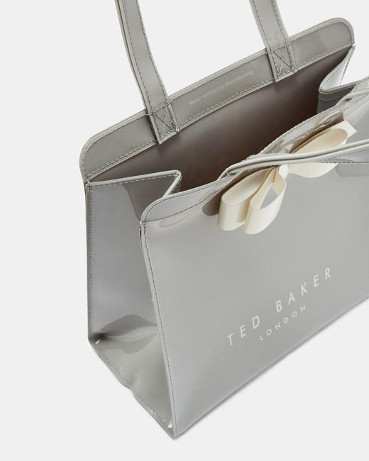 Ted Baker Gray Almacon Bow Detail Large Icon Bag