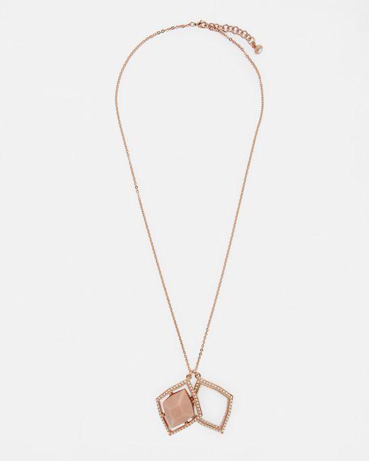 Ted Baker - Pink Regal Gem Double Pendant Necklace - Lyst