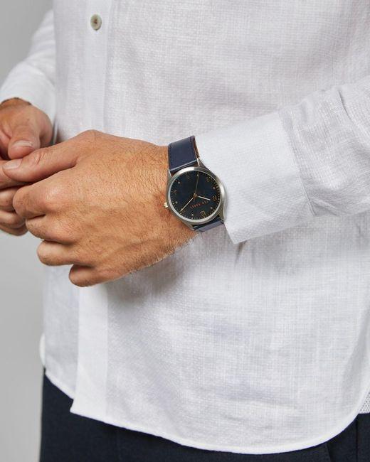 Reloj Con Correa De Piel Ted Baker de hombre de color Blue