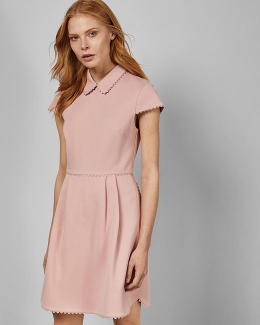 d04fb39c89f Ted Baker - Pink Scallop Detail Collared Dress - Lyst ...