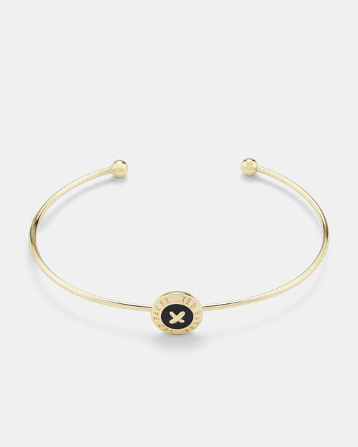 Ted Baker - White Enamel Button Bangle - Lyst