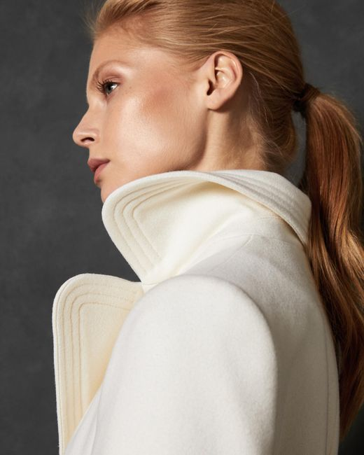 Ted Baker - White Wide Collar Long Wool Wrap Coat - Lyst