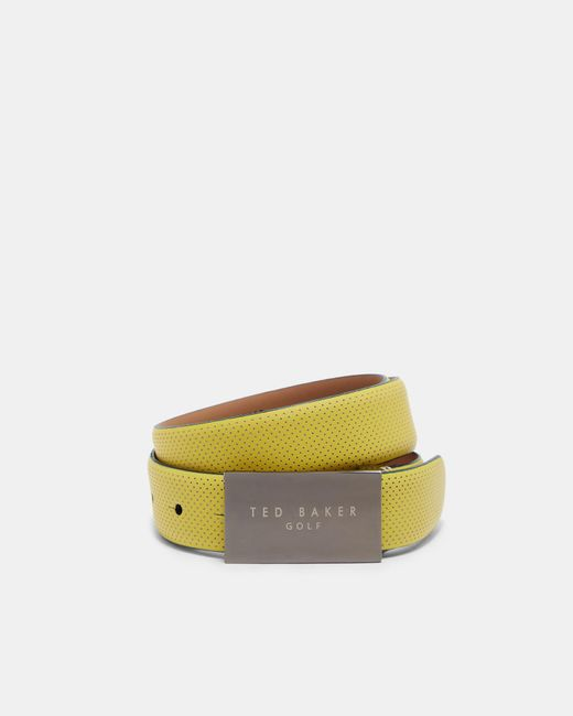 Ted Baker - Yellow Rubberised Leather Belt for Men - Lyst