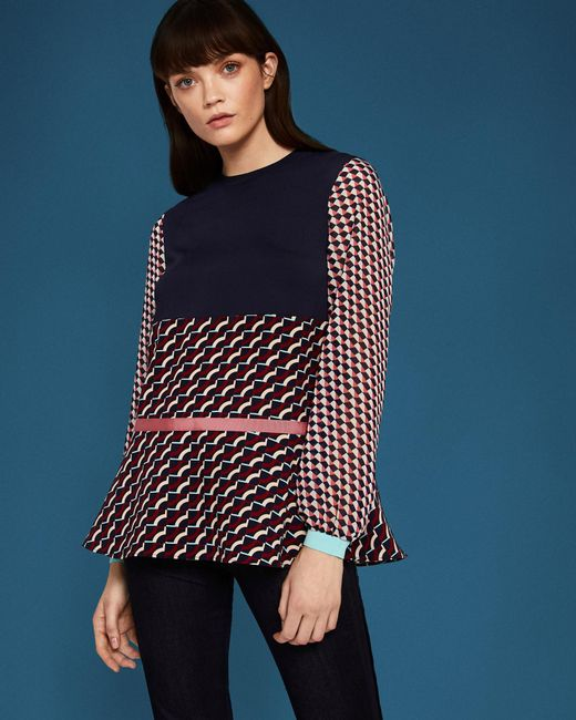 Ted Baker - Blue Roslba Cbn Knit Woven Mix Print Top - Lyst