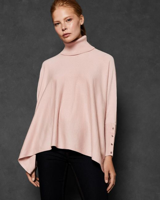 Ted Baker - Pink Ribbed Trim Poncho Jumper - Lyst