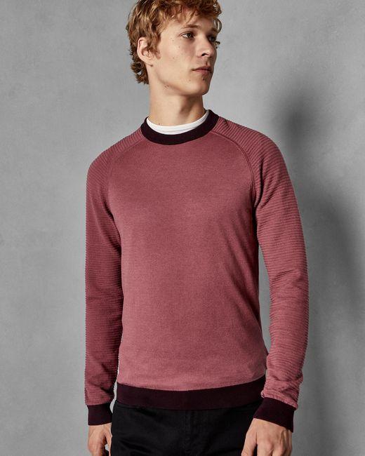 Ted Baker Pink Striped Sleeve Cotton Jumper for men