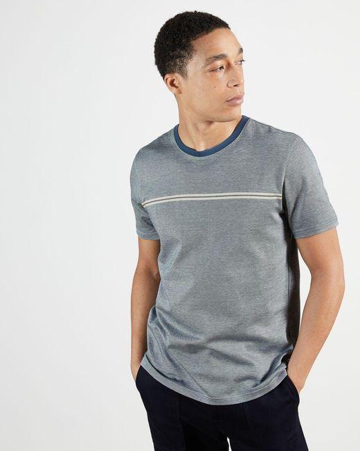 Ted Baker Blue Stripe Detail T-shirt for men