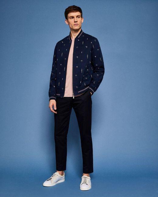 Ted Baker Blue Tropical Print Bomber Jacket for men