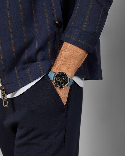 Montre Avec Bracelet En Cuir Ted Baker pour homme en coloris Blue
