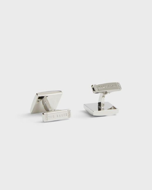 Ted Baker Metallic Square Cufflinks With Corner Cut Out for men