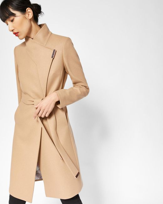 acf27ad7b590eb Ted Baker - Natural Cashmere-blend Wrap Front Coat - Lyst ...