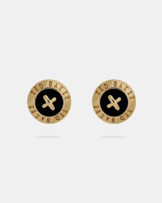 Ted Baker - Black Enamel Button Stud Earrings - Lyst