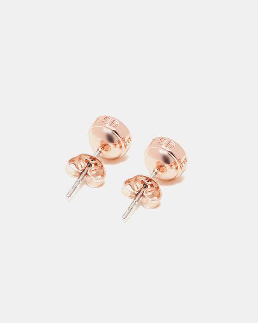 Ted Baker - White Round Stud Earrings - Lyst