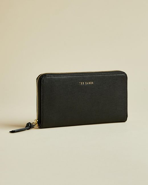 Ted Baker Black Zip Around Leather Matinee Purse