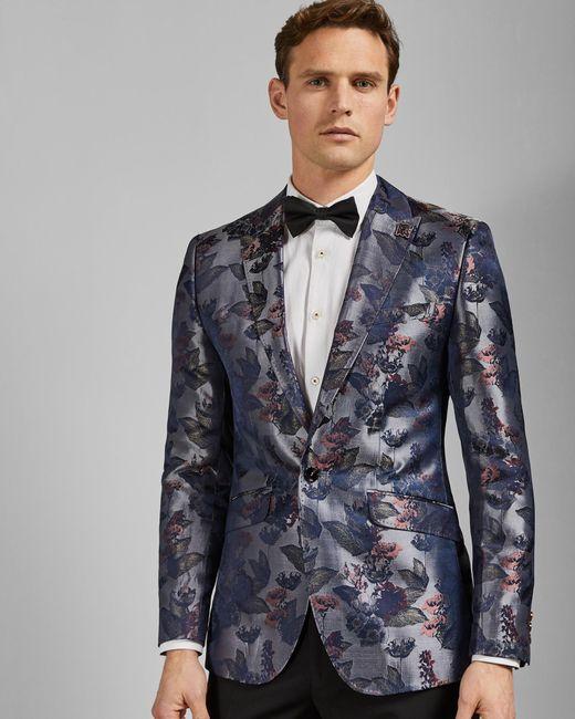 f0b3f7e4d594ee Ted Baker - Gray Jacquard Jacket for Men - Lyst ...