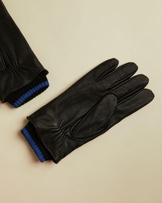 Gants Détails En Cuir Ted Baker pour homme en coloris Black
