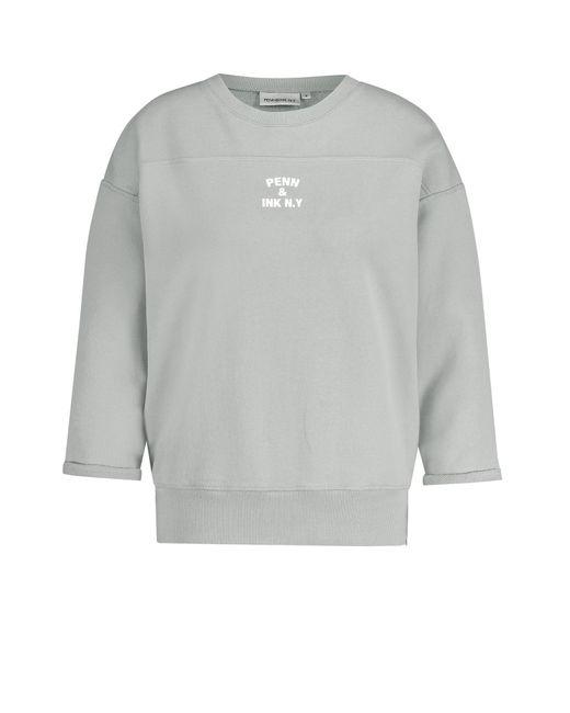 Penn&Ink N.Y Sweater Met Tekstprint in het Gray
