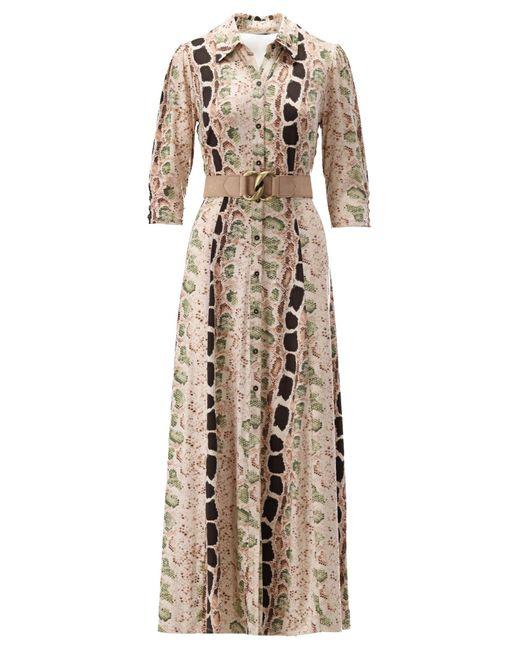 K-design Maxi Dress Met Snake-print in het Multicolor