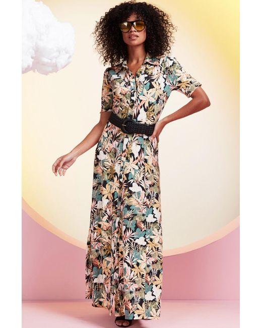 K-design Maxi Dress Met Tropische Print in het Multicolor