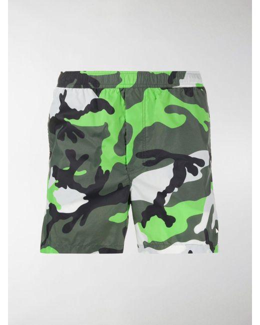 Costume da bagno con stampa camouflage di Valentino in Green da Uomo