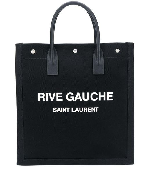Saint Laurent Black Rive Gauche Printed Canvas Tote