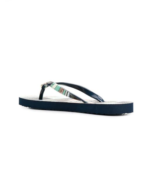 9bc681b3120d Lyst - Tory Burch Printed Flip Flops in Blue - Save 15%