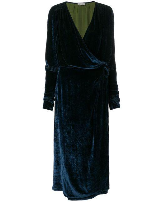 Attico Velvet Robe Dress In Green Lyst