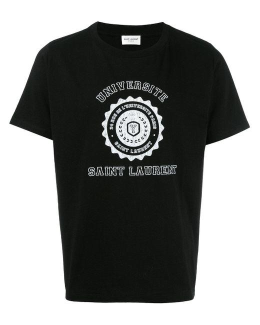lyst saint laurent universit t shirt in black for men