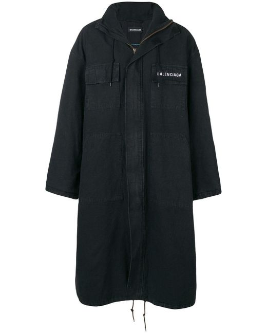 Balenciaga Black Cotton Parka for men