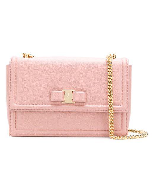 Ferragamo - Pink Ginny Leather Shoulder Bag - Lyst