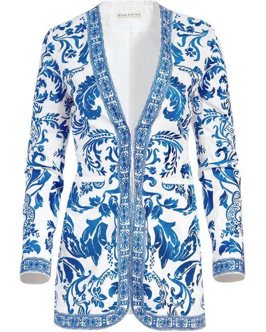 Alice + Olivia White Chriselle Embroidered Jacket