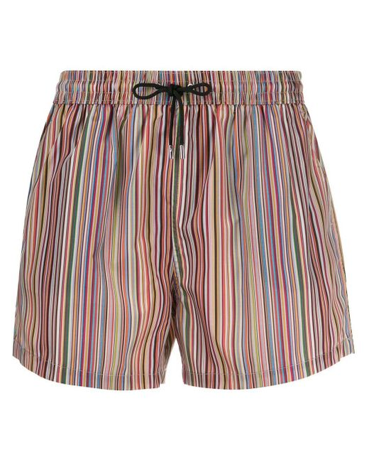 Paul Smith Red Striped Drawstring Shorts for men