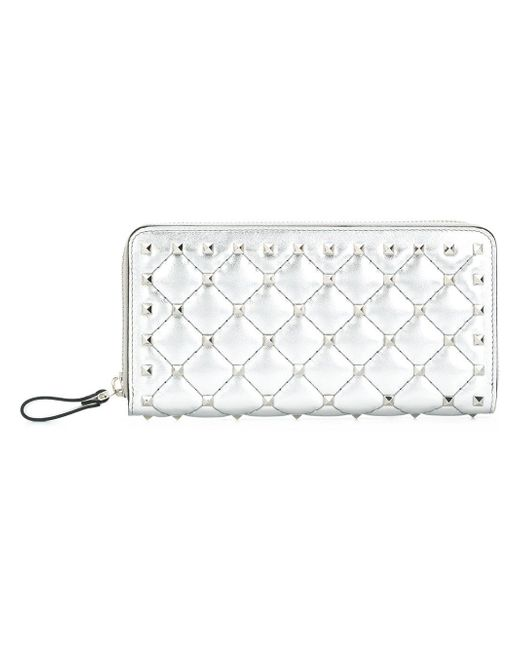 Valentino - Metallic Rockstud Spike Leather Continental Wallet - Lyst