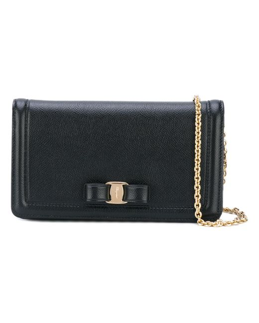 6879fa03d1e5 Ferragamo - Black Vara Leather Clutch - Lyst ...
