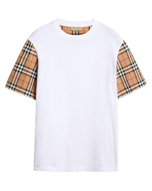 Burberry White Checked Cotton T-shirt