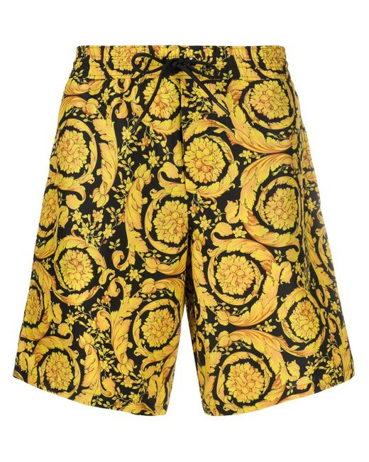Versace Black Barocco-print Knee-length Swim Shorts for men
