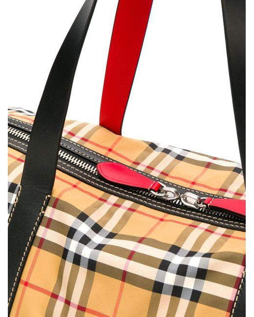 5e3e2037acc4 ... Burberry - Natural Check Kennedy Travel Bag for Men - Lyst ...