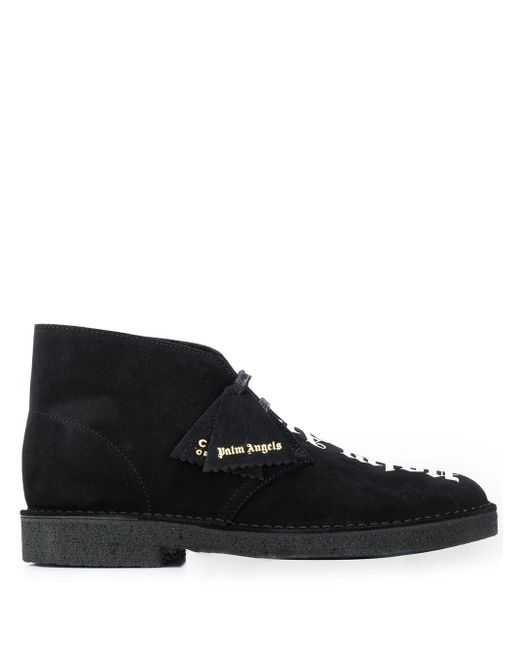 Palm Angels Black Logo-print Ankle Boots for men