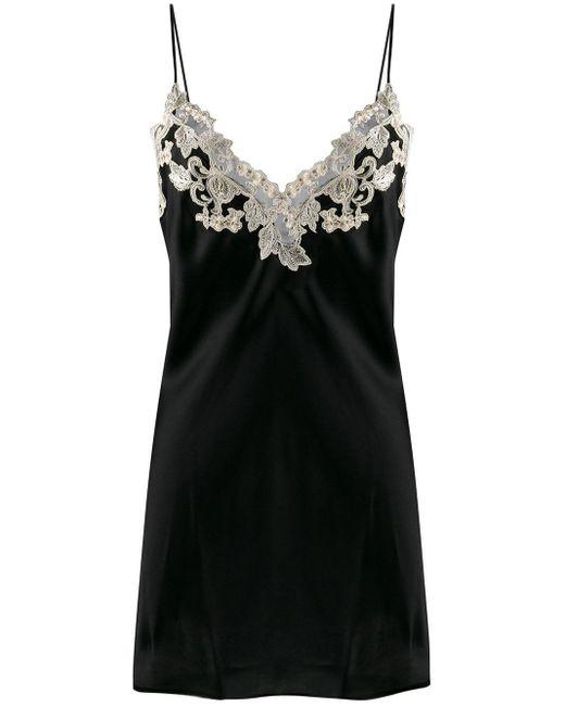 La Perla Black Maison Lace Trim Slip Dress