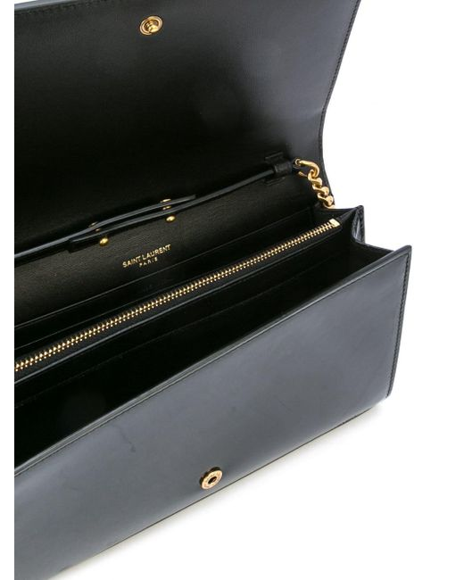 a95ef8518f ... Saint Laurent - Black Monogram Leather Wallet On Chain - Lyst