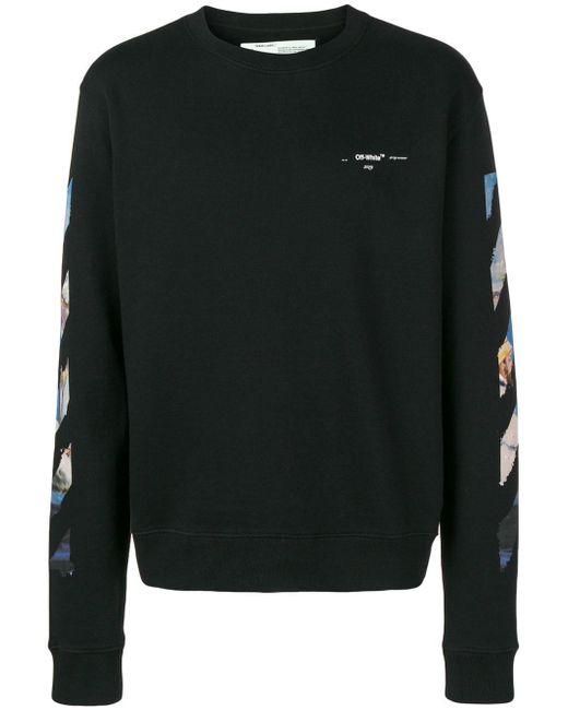 30fb60e92a66 Off-White c o Virgil Abloh Printed Crewneck Sweater in Black for Men ...