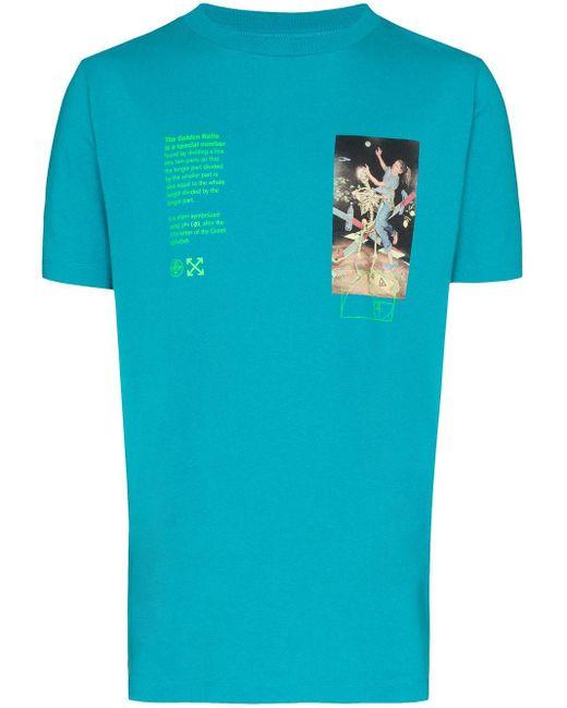 """Off-White c/o Virgil Abloh Blue Oversized """"golden Ratio"""" T-shirt for men"""